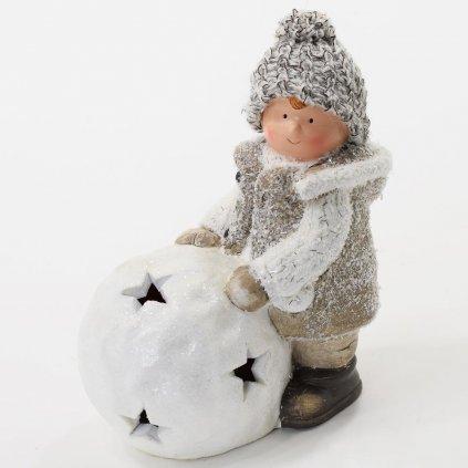 vianočná dekorácia CHLAPEC S LED GUĽOU KERAMIKA 15X8,5X16,5CM