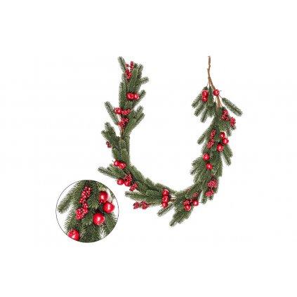 Girlanda, vianočná červené jabĺčka umelá  dekorácia 3d čečina 20x160x8cm