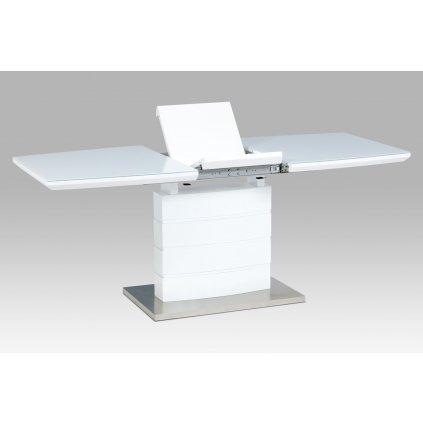 rozkladací jedálenský stôl 140+40x80x76cm, biely lesk, biele sklo/brusený nerez
