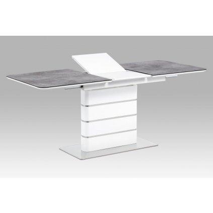 jedálenský stôl140+40x80, šedé sklo, biely vysoký lesk MDF, brúsený nerez