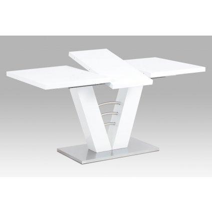 jedálenský stôl 120/160x80x75cm, vysoký lesk biely