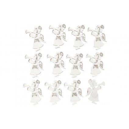 Anjeličkovia drevená dekorácia na prilepenie biely s trúbkou sada 12ks cena za sadu