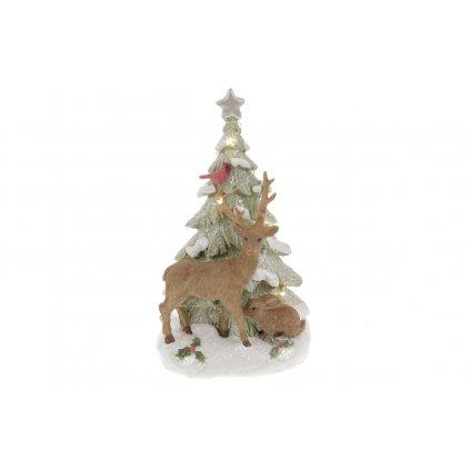 Vianočný stromček so sobom dekorácia z polyresinu s LED svetlom 12x20x10cm