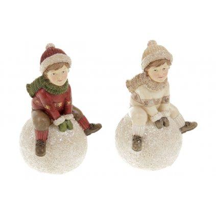 Chlapec so snehovou guľou dekorácia z polyresinu,  2 druhy, cena za 1 kus 10x13x8cm