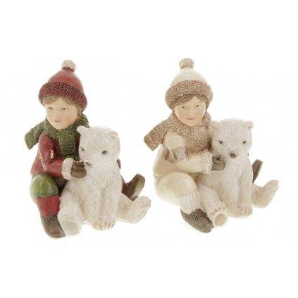 Chlapec s medvedíkom, dekorácia z polyresinu, mix 2 druhy, cena za 1 kus 7x9x7cm