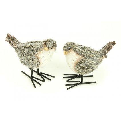 Vtáčik hnedobiely vianočná dekorácia cena za 1 kus 6x9x8cm