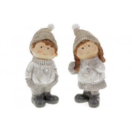 Chlapec nebo děvče, stojící s čepicí na hlavě, zimní dekorace z polyresinu. Mix 2 druhů. Cena za 1ks.