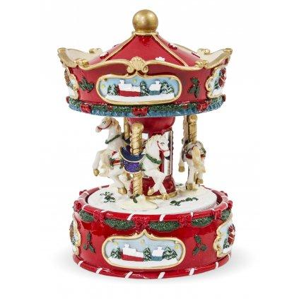 vianočný kolotoč s koníkmi 16x11x11cm