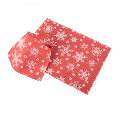 prestieranie vianočne červené s vločkami bielymi sada 2ks 32×45cm