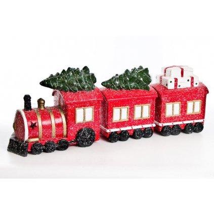 vianočná dekorácia vláčik led posvietene mgo keramika červená 30x80cm