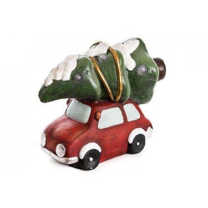 auto s vianočným stromčekom led svieti mgo keramika červené 24x37x33cm