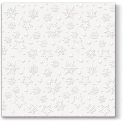 vianočné papierové servítky s bielymi vločkami 33x33cm