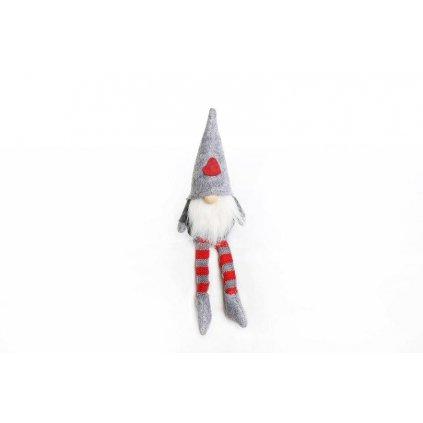 škriatok so srdiečkom sediaci visiace nohy šedý 25cm