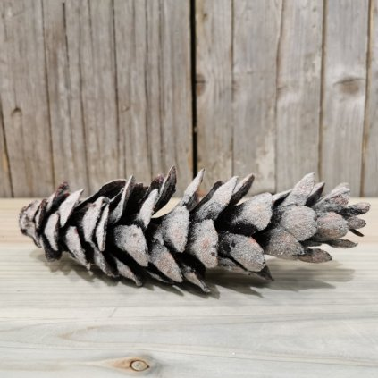 šiška s námrazou prírodná dekorácia  19cm