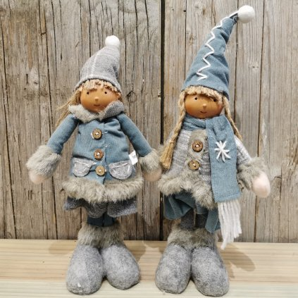 vianočne detičky modré latkové 36cm