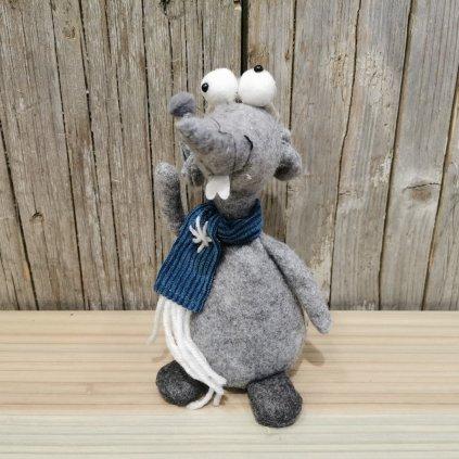 vianočná myška so šálom šedo modra latková 22cm