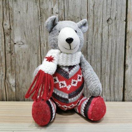 vianočný macko so šálom červeno šedý latkoví 22cm