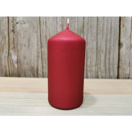 sviečka valec matná bordová 6x12cm