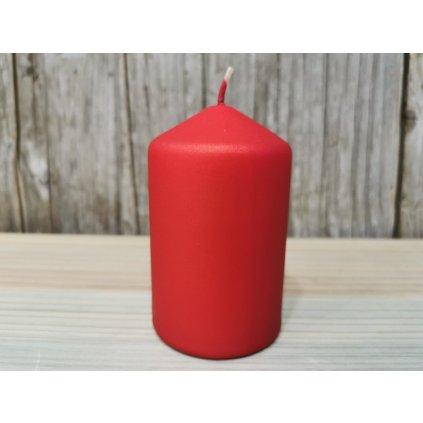 sviečka valec matná červená 6x10cm