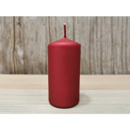 sviečka valec matná bordová 4x8cm