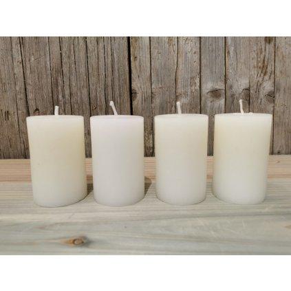 sviečka biela valec 8x5cm sada 4usy