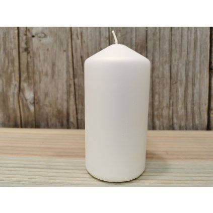 sviečka valec matná biela 6x12cm