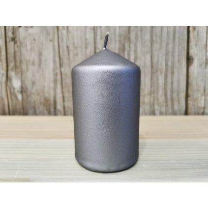 sviečka valec matná siva 6x10cm