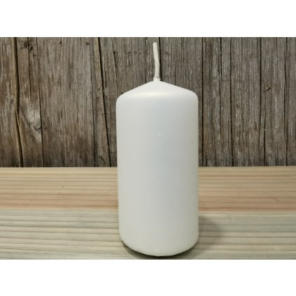 sviečka valec matná biela 4x8cm