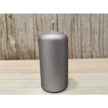 sviečka valec matná siva 4x8cm