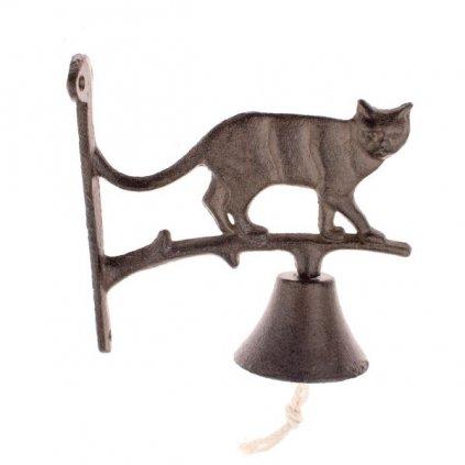 Liatinový zvonček mačička 18×18×7,5cm