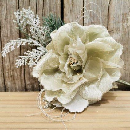 vianočná ruža s vetvičkou bledo zelená  11cm