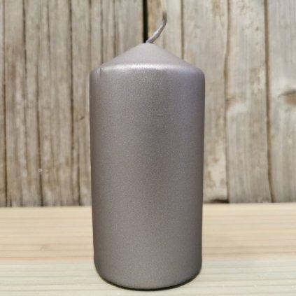 sviečka valec šedá matná 12x6cm