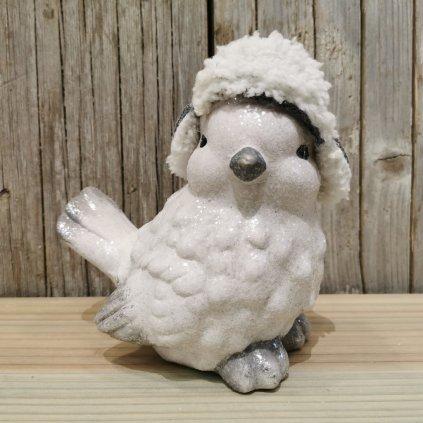 vianočná dekorácia vtáčik s čiapkou biely keramika 16 x11x17cm