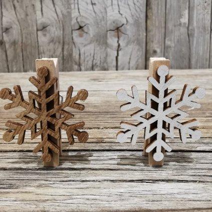 Vločka, vianočná drevená dekorácia na štipci cena za 1KS 3,5x4,5x1,5cm