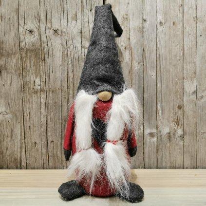 vianočná dekorácia škriatok latkový červeno šedý 60cm