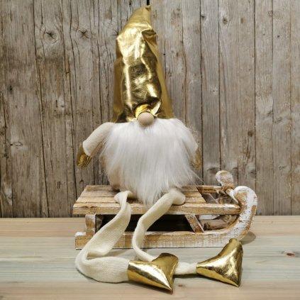 vianočná dekorácia škriatok sediaci latkový zlato krémový 80cm