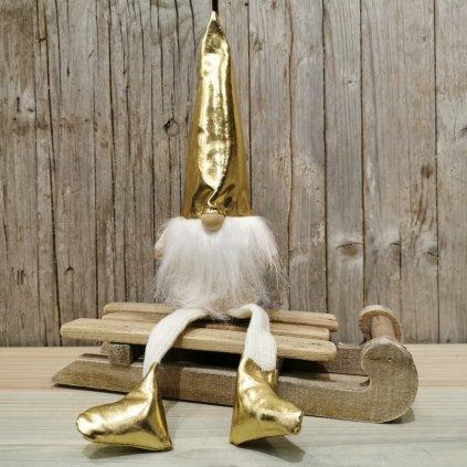 vianočná dekorácia škriatok sediaci latkový zlato krémový 38cm