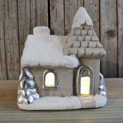 vianočná dekorácia domček svietiaci led keramika 7x13x11cm