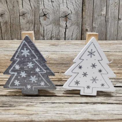 Stromček vianočná drevená dekorácia na štipci cena za 1KS 4,5x4,5x1,5cm