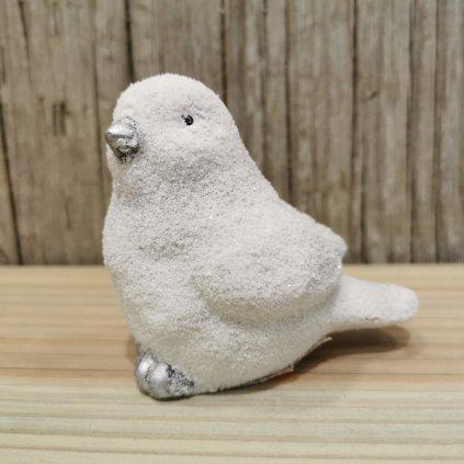 vtáčik vianočná dekorácia biely 9x5x8cm