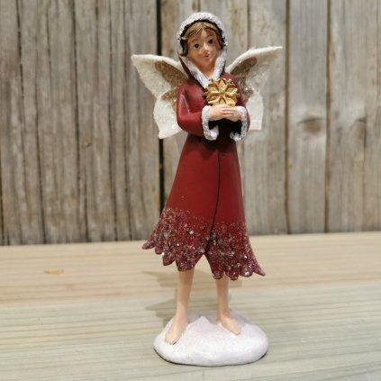 vianočná víla s vločkou červený 7x4x14,5 cm