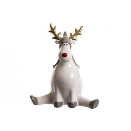 vianočný sob keramický šedý 20cm