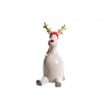 vianočný sobik keramický šedý 17x8cm