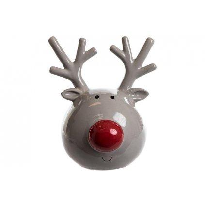 vianočná dekorácia sobik keramicky šedý 14x19x20cm