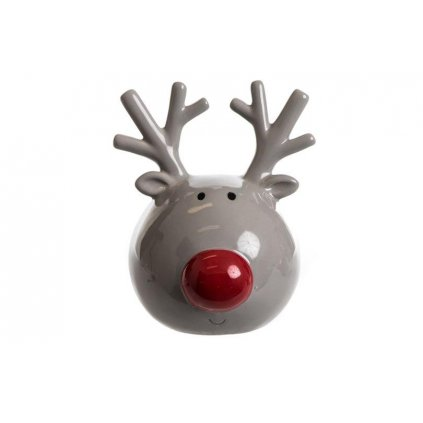 vianočná dekorácia sobik keramicky šedý 12x13cm