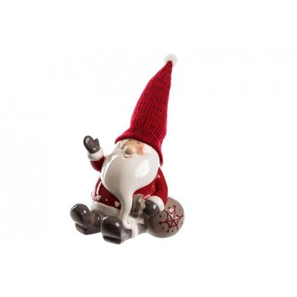 vianočná dekorácia Mikuláš s vreckom keramika červeno šedý 25x17cm