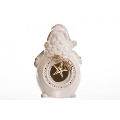 vianočná dekorácia Mikuláš s hviezdou svietiaci led biely 14x10cm