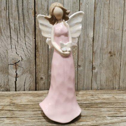anjel s motýľom rúžoví keramicky 19cm