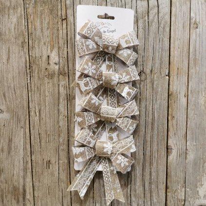 vianočná stuha juta šedá nórsky vzor cena za 4ks 10x12cm