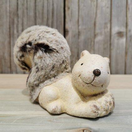 veverička dekorácia krémova keramika 10x13cm